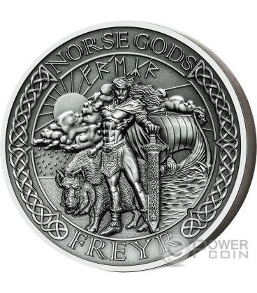 FREYR Norse Gods Alti Rilievi 2 Oz Moneta Argento 10$ Cook Islands 2016