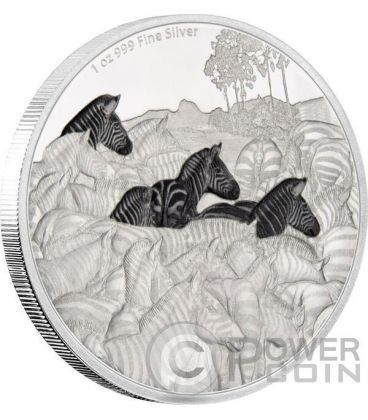 ZEBRA Great Migrations Migrazione 1 Oz Moneta Argento 2$ Niue 2016