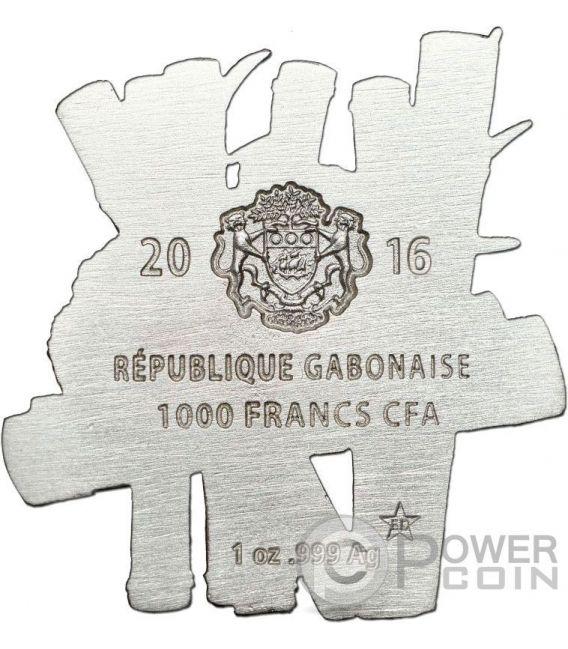CHINESE PANDA Forma Full Sculpture Icon 1 Oz Moneta Argento 1000 Franchi Gabon 2016