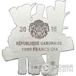 CHINESE PANDA Shaped Full Sculpture Icon 1 Oz Moneda Plata 1000 Francs Gabon 2016