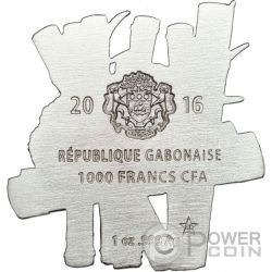 CHINESE PANDA Shaped Full Sculpture Icon 1 Oz Серебро Монета 1000 Франков Габон 2016