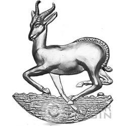 AFRICAN SPRINGBOK Shaped Full Sculpture Icon 1 Oz Серебро Монета 1000 Франков Габон 2016