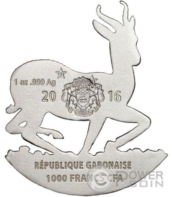 AFRICAN SPRINGBOK Shaped Full Sculpture Icon 1 Oz Moneda Plata 1000 Francs Gabon 2016