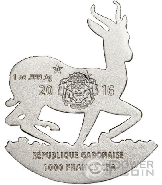AFRICAN SPRINGBOK Shaped Full Sculpture Icon 1 Oz Silver Coin 1000 Francs Gabon 2016