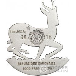 AFRICAN SPRINGBOK Shaped Full Sculpture Icon 1 Oz Moneda Plata 1000 Francs Gabon 2016