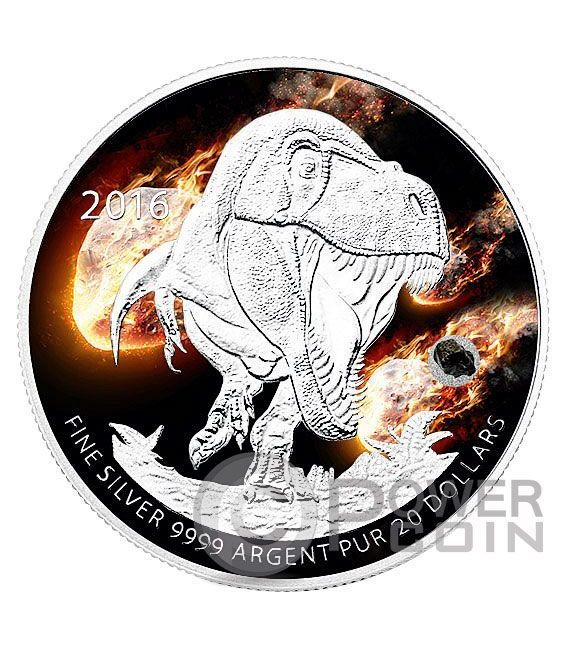 TYRANNOSAURUS REX Meteorite Dinosaurs Silver Coin 20 Dollars Canada 2016