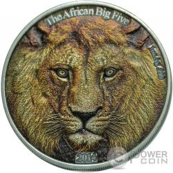 LEONE AFRICANO Colorato Lion African Big Five Moneta Argento 1 Oz 1000 Franchi Burkina Faso 2014
