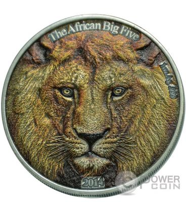 LION Colored African Big Five 1 Oz Silver Coin 1000 Francs Burkina Faso 2014