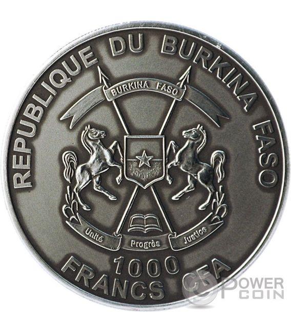 LEONE AFRICANO Colorato Lion African Big Five Moneta Argento 1 Oz 1000 Franchi Burkina Faso 2014