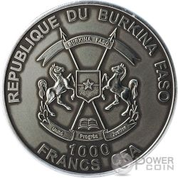 LION Colored African Big Five 1 Oz Moneda Plata 1000 Francs Burkina Faso 2014