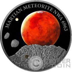 MARTIAN METEORITE NWA 6963 Mars Moneda Plata 1$ Niue 2016