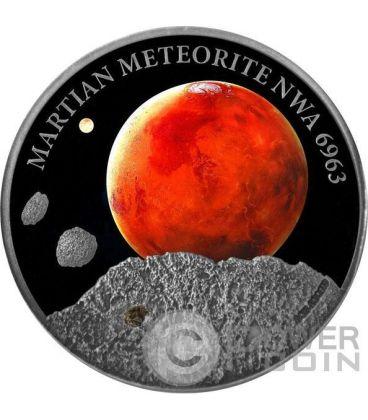MARTIAN METEORITE NWA 6963 Marte Moneta Argento 1$ Niue Island 2016