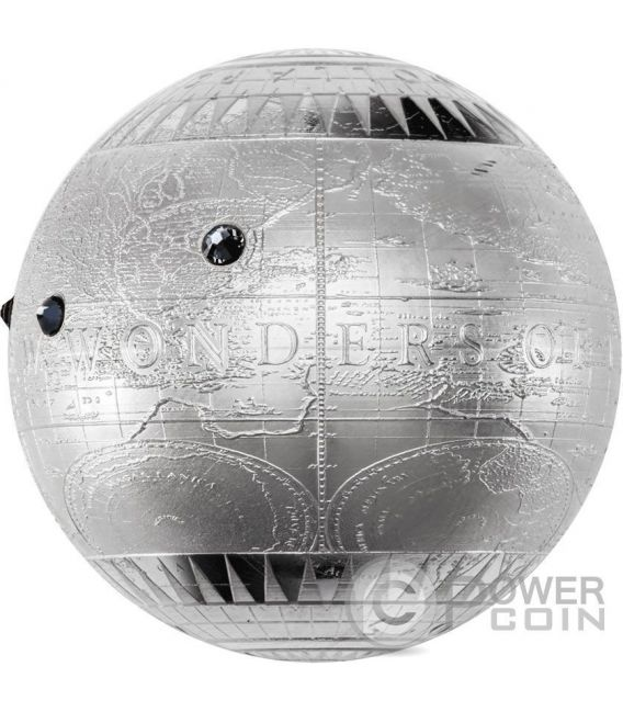 SEVEN NEW WONDERS OF THE WORLD Spherical Proof 7 Oz Silver Coin 7$ Niue 2015