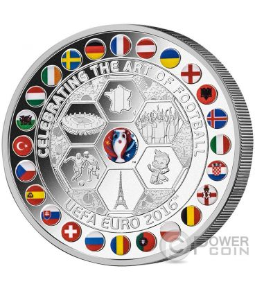UEFA EURO Campionato Art of Football Calcio 1 Kg Kilo Moneta Argento 10$ Fiji 2016