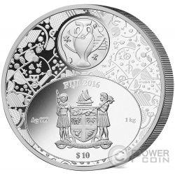 UEFA EURO Championship Art of Football 1 Kg Kilo Серебро Монета 10$ Фи́джи 2016