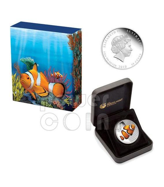 CLOWNFISH NEMO Australian Sea Life Silber Münze 50c Australia 2010
