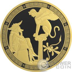 OEDIPUS AND SPHINX Edipo Sfinge Greek Myths 2 Oz Moneta Argento 10$ Niue 2016