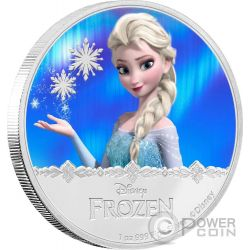 ELSA Disney Frozen Magic of the Northern Lights 1 Oz Moneda Plata 2$ Niue 2016