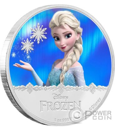 ELSA Disney Frozen Magic of the Northern Lights 1 Oz Moneta Argento 2$ Niue 2016