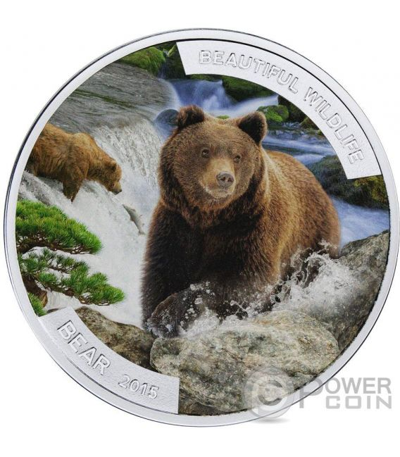 BEAR ORSO Beautiful Wildlife Fauna Selvatica 1 Oz  Moneta Argento 1$ Niue 2015