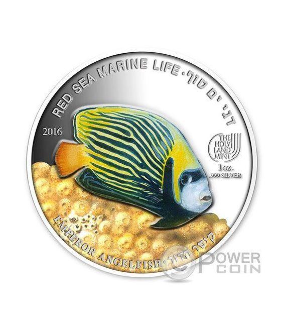 EMPEROR ANGELFISH Pesce Angelo Red Sea Marine Life  1 Oz Moneta Argento 5$ Palau 2016