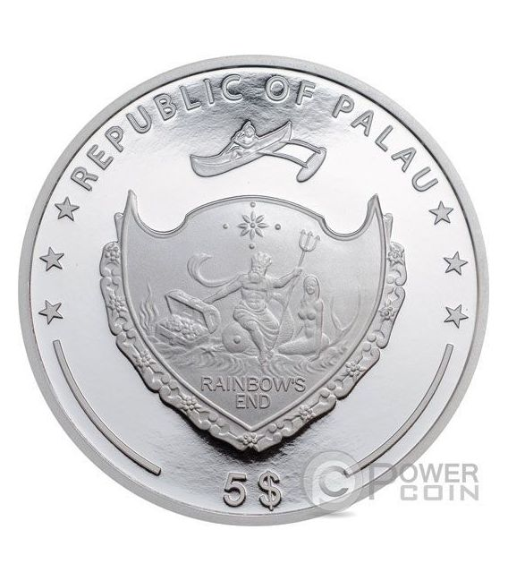 EMPEROR ANGELFISH Red Sea Marine Life 1 Oz Silber Münze 5$ Palau 2016