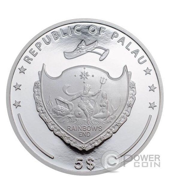 EMPEROR ANGELFISH Red Sea Marine Life 1 Oz Silver Coin 5$ Palau 2016