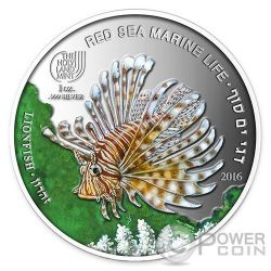 LIONFISH Pesce Leone Red Sea Marine Life  1 Oz Moneta Argento 5$ Palau 2016