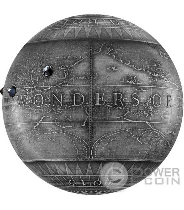 SEVEN NEW WONDERS OF THE WORLD Spherical Antique Finish 7 Oz Silver Coin 7$ Niue 2015