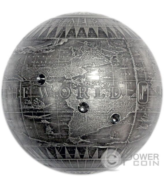 SEVEN NEW WONDERS OF THE WORLD Spherical Antique Finish 7 Oz Moneda Plata 7$ Niue 2015