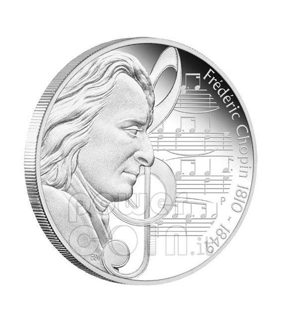 CHOPIN Frederic Grandi Compositori Moneta Argento 1$ Tuvalu 2010