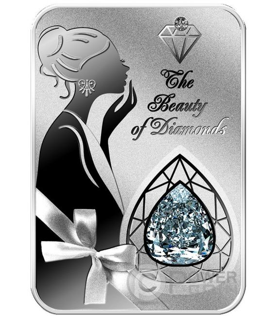 MILLENNIUM STAR The Beauty of Diamonds 1 Oz Silver Coin 2$ Niue 2016
