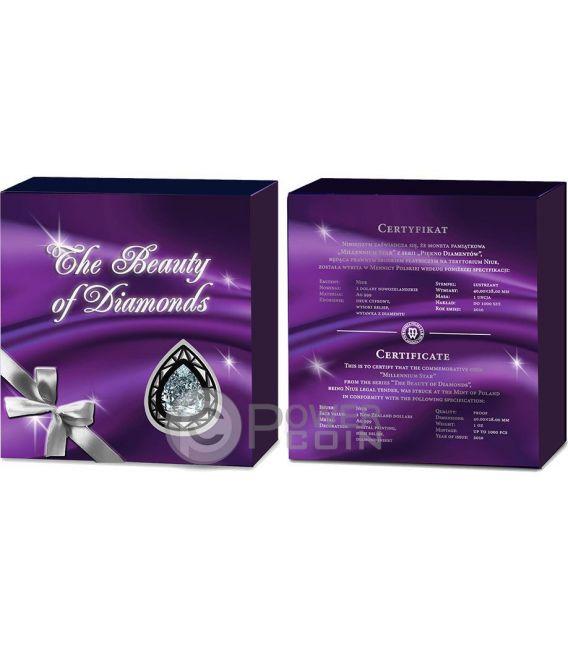 MILLENNIUM STAR The Beauty of Diamonds 1 Oz Silber Münze 2$ Niue 2016