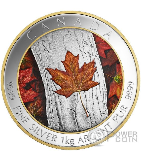 MAPLE LEAF FOREVER Colored 1 Kg Kilo Silver Coin 250$ Canada 2016