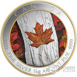 MAPLE LEAF FOREVER Colored 1 Kg Kilo Moneda Plata 250$ Canada 2016