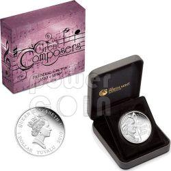 CHOPIN Frederic Great Composers Серебро Монета 1$ Тувалу 2010