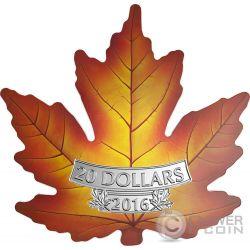 CUT OUT MAPLE LEAF Foglia Acero Colorata Moneta Argento 20$ Canada 2016