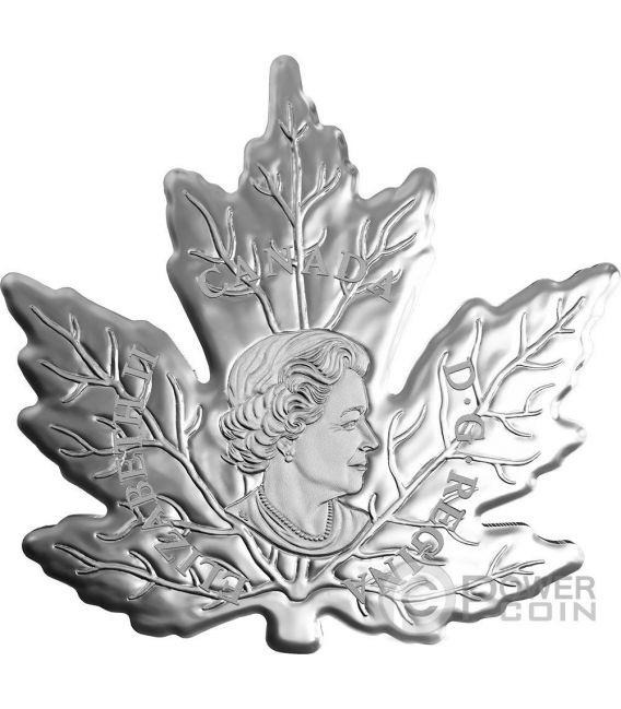 CUT OUT MAPLE LEAF Colored Moneda Plata 20$ Canada 2016