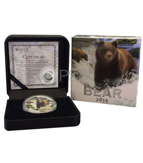 BEAR Beautiful Wildlife 1 Oz  Moneda Plata 1$ Niue 2015