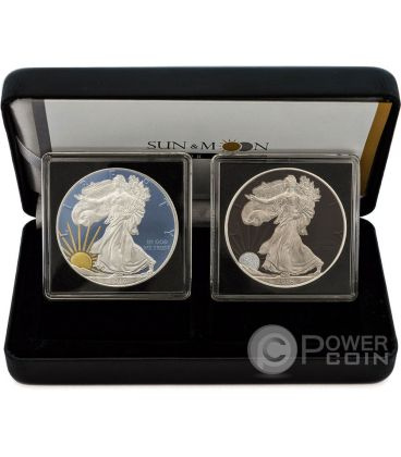 SUN AND MOON Walking Liberty Set Sole Luna 2x1 Oz Moneta Argento 1$ US Mint 2016