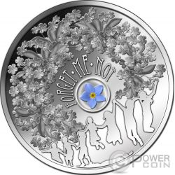 FORGET ME NOT Blossoms Best Friends Forever Silber Münze 1$ Niue 2014