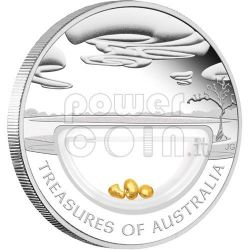 GOLD NUGGETS Treasures Of Australia Silver Proof Locket Coin 1$ 2010