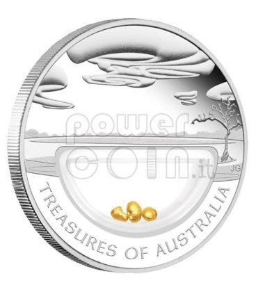 ORO PEPITE Treasures Of Australia Gold Moneta Argento 1$ 2010