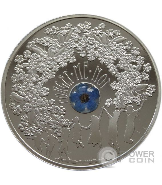 FORGET ME NOT Blossoms Best Friends Forever Moneda Plata 1$ Niue 2014