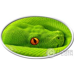 GREEN TREE PYTHON Pitone Verde Lenticular Flip Eye Animal Skin 1 Oz Moneta Argento 2$ Niue 2016