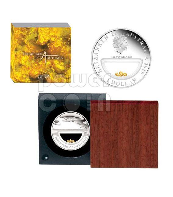 GOLD NUGGETS Treasures Of Australia Plata Proof Locket Moneda 1$ 2010