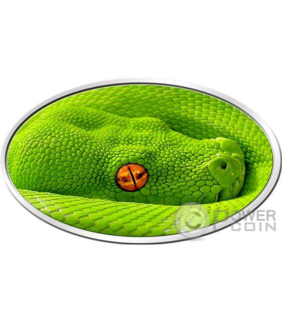 GREEN TREE PYTHON Lenticular Flip Eye Animal Skin 1 Oz Moneda Plata 2$ Niue 2016