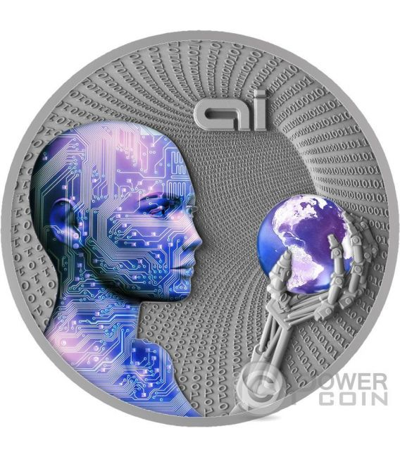 ARTIFICIAL INTELLIGENCE AI Code Of The Future 2 Oz Silver Coin 2$ Niue 2016