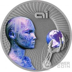 ARTIFICIAL INTELLIGENCE AI Code Of The Future 2 Oz Silver Coin 2$ Niue 2016