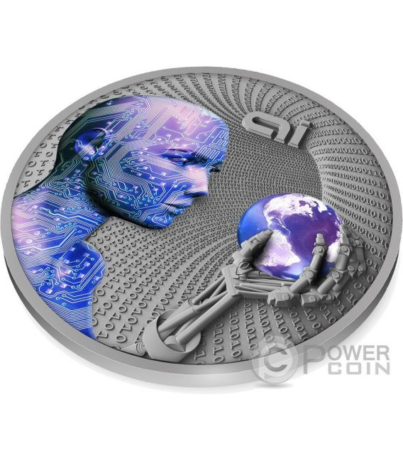 ARTIFICIAL INTELLIGENCE AI Code Of The Future 2 Oz Moneta Argento 2$ Niue 2016